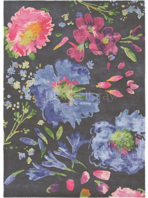 Kippen black flower • Online Tapijten